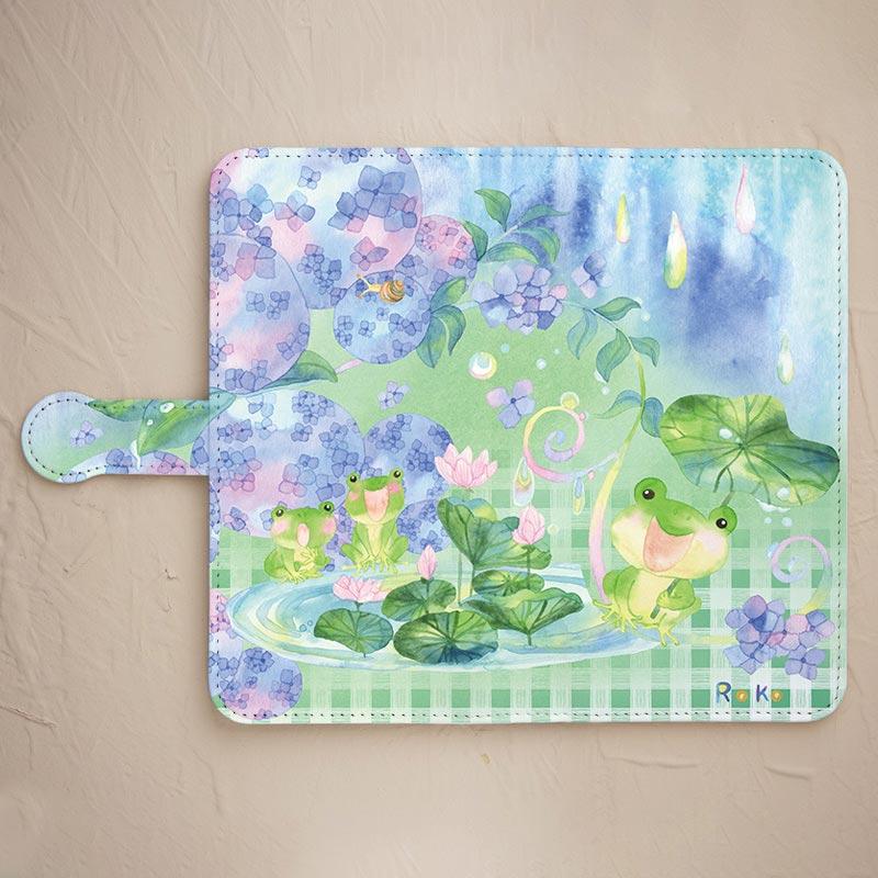 紫陽花とカエルのスマホケース