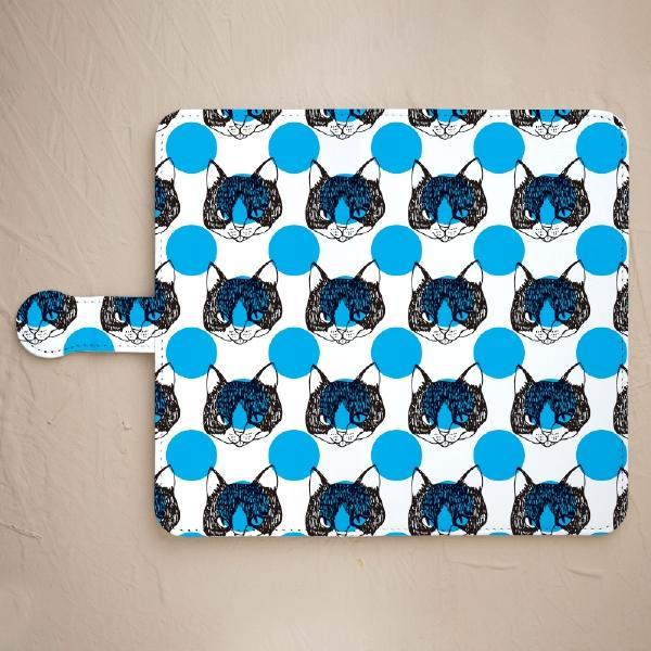 【舌をしまい忘れた猫-ブルー(鏡付き)】スマホケースを見る
