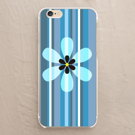 スマホケース【Flower and stripes_Blue】をチェックする