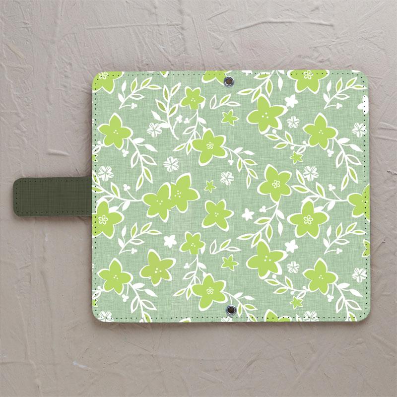 スマホケース【【手帳型】優しいシックな花柄 グリーン系】をチェックする