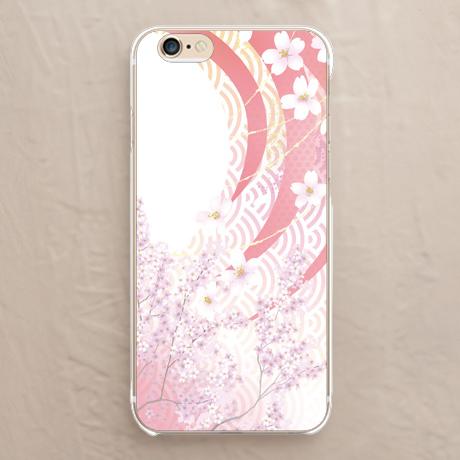 【青海波に桜】スマホカバーをチェックする