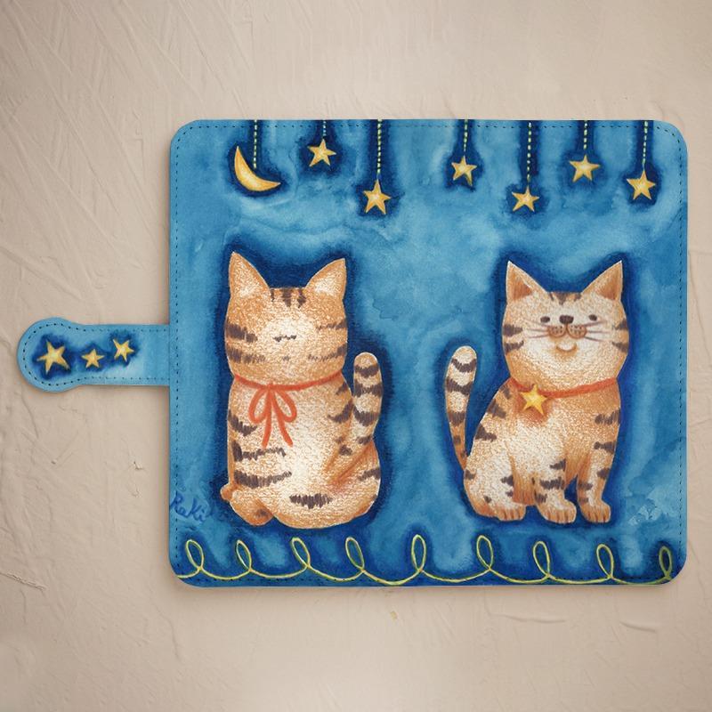 【星と猫】の手帳型スマホケースをチェックする