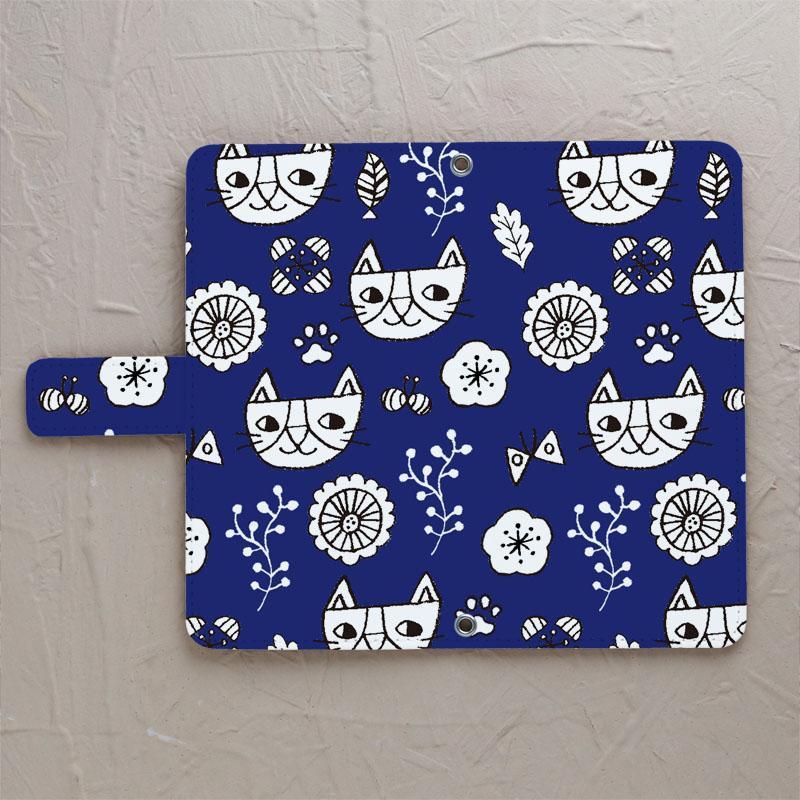 【猫北欧 ネイビー】の手帳型スマホケースをチェックする