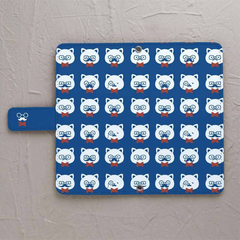 【ネコとヒゲとメガネ03】の手帳型スマホケースをチェックする