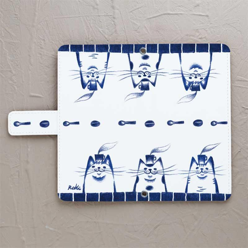 【白青猫】の手帳型スマホケースをチェックする