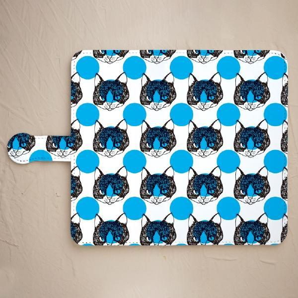 【舌をしまい忘れた猫-ブルー】の手帳型スマホケースをチェックする