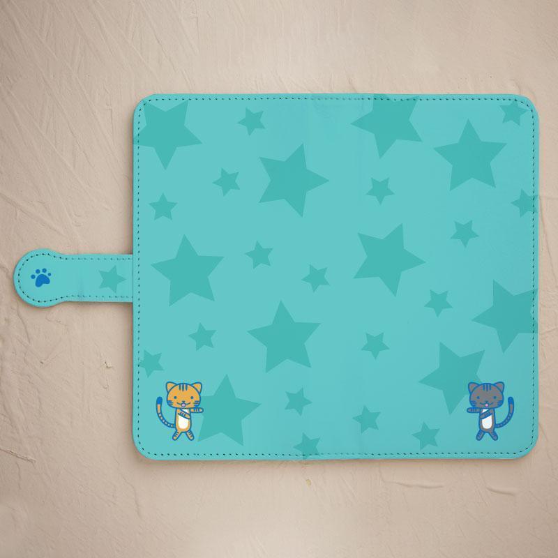 【ネコと星】の手帳型スマホケースをチェックする