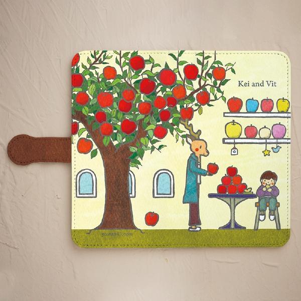 【Kei and Vit  シカくんのりんご】手帳型のケースをチェックする