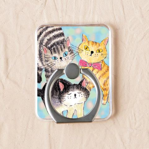 ネコたちを生き生きと描いた【賑やかなネコ】