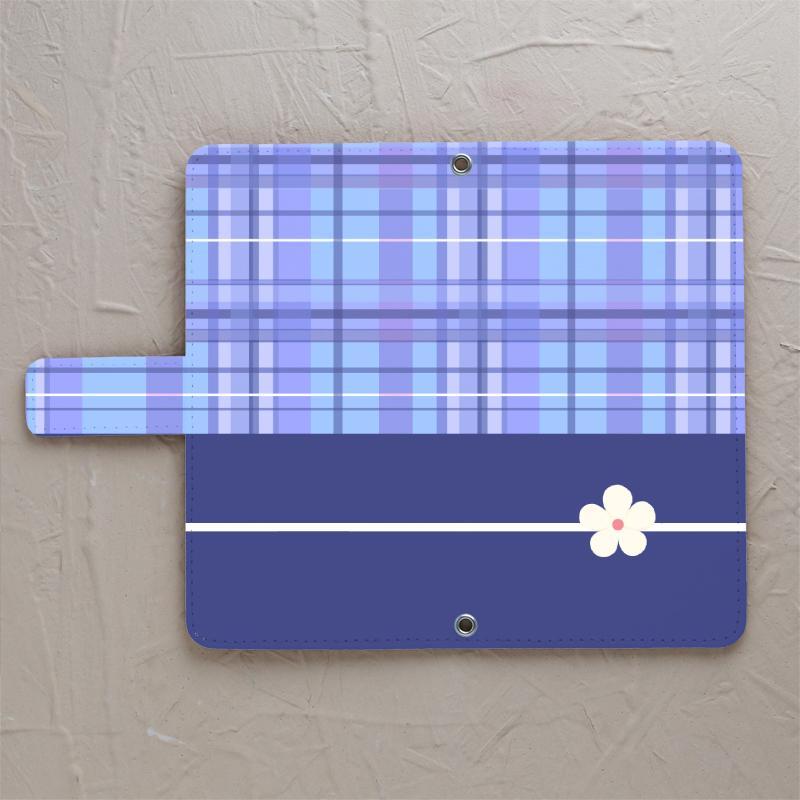 【ブルーチェック白い花】の手帳型スマホカバーをチェックする
