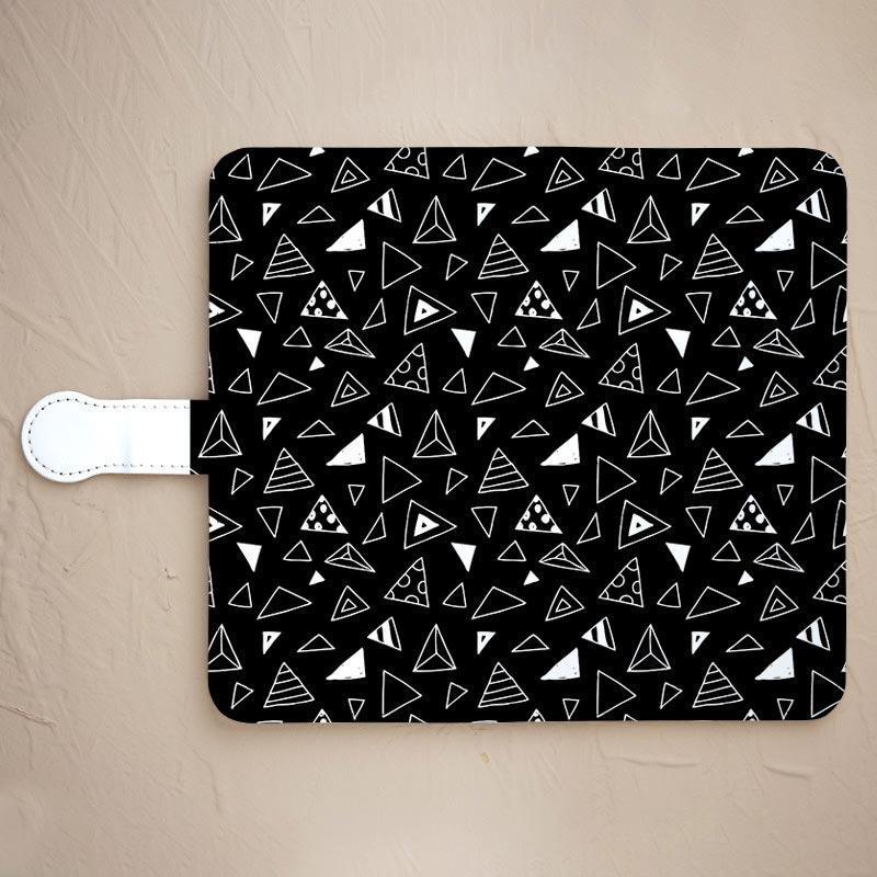 【サンカク☆黒】の手帳型スマホカバーをチェックする