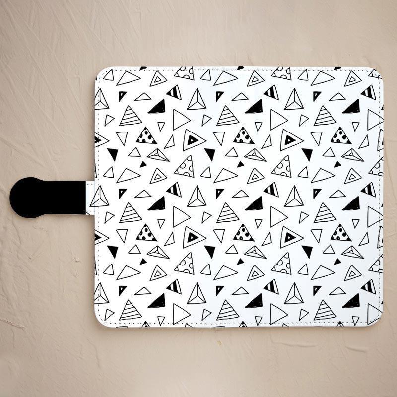 【サンカク☆白】の手帳型スマホカバーをチェックする