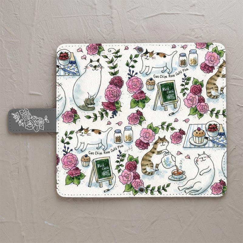 【Rose cafe pink】の手帳型スマホケースをチェックする